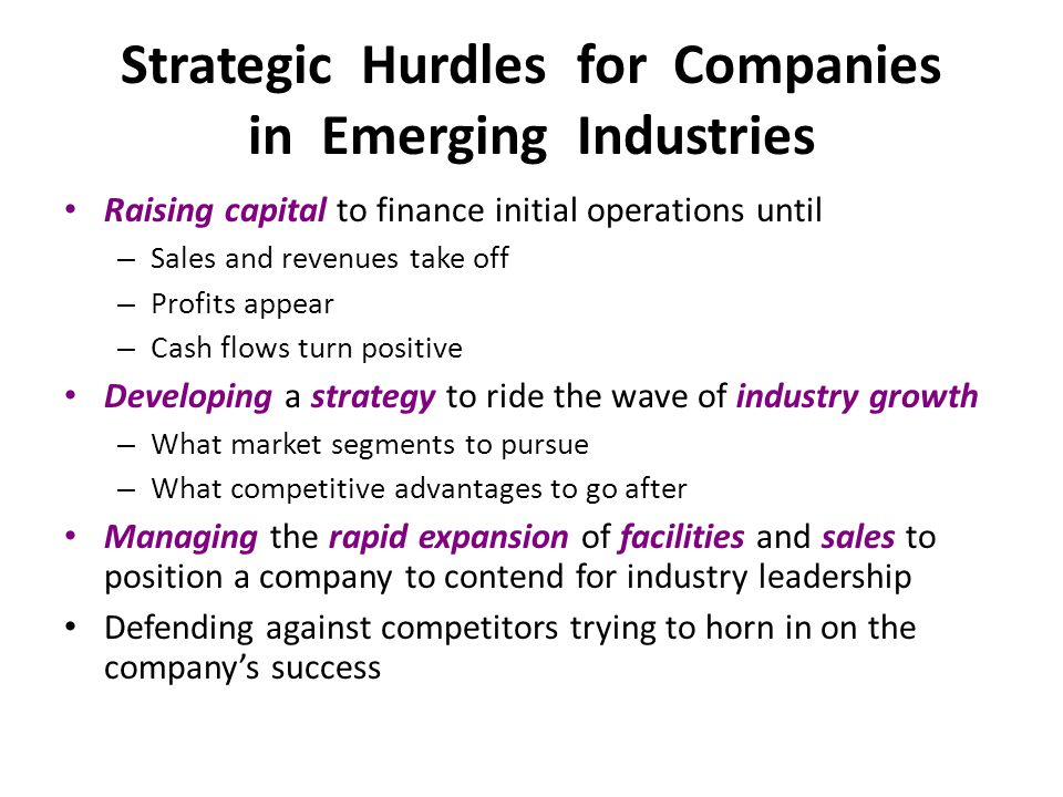 Strategic Hurdles for Companies in Emerging Industries