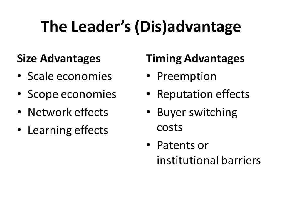 The Leader's (Dis)advantage