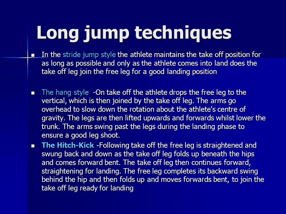 Long jump techniques