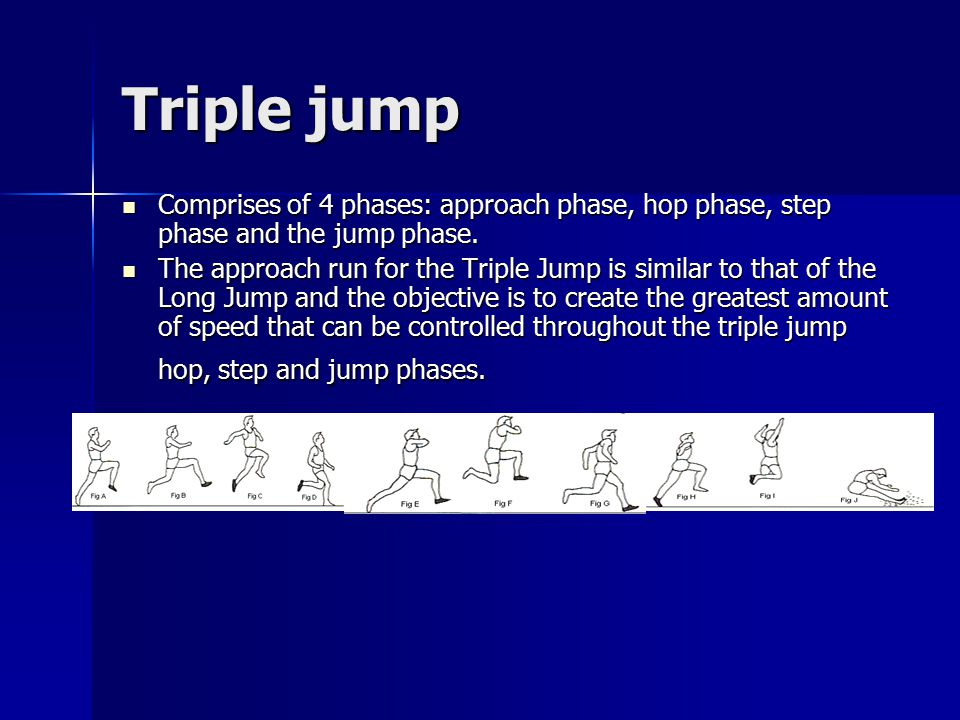 Triple jump Comprises of 4 phases: approach phase, hop phase, step phase and the jump phase.