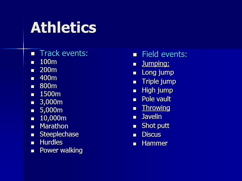 Athletics Track events: Field events: 100m 200m 400m 800m 1500m 3,000m