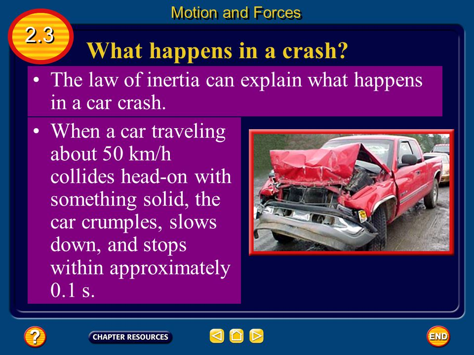 Motion and Forces 2.3. What happens in a crash The law of inertia can explain what happens in a car crash.