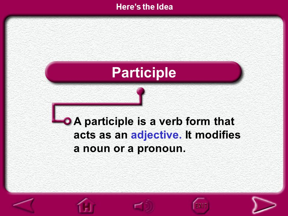 Here's the Idea Participle. A participle is a verb form that acts as an adjective.