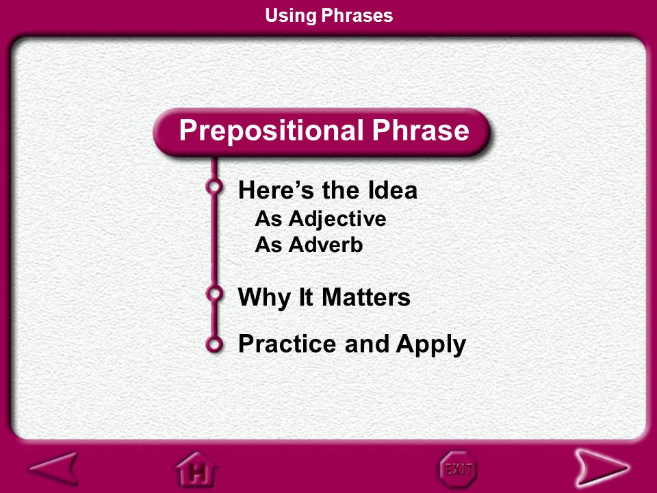 Prepositional Phrase Here's the Idea Why It Matters Practice and Apply