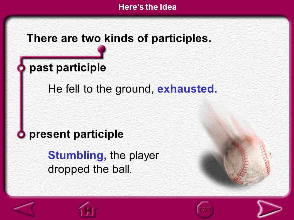 There are two kinds of participles.