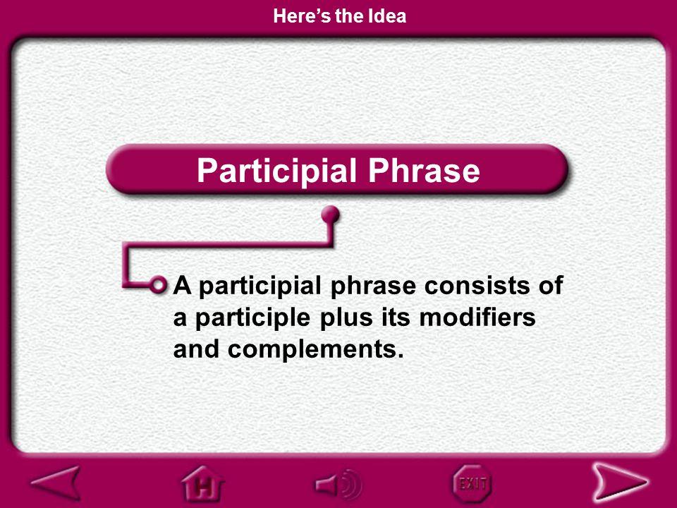 Here's the Idea Participial Phrase.