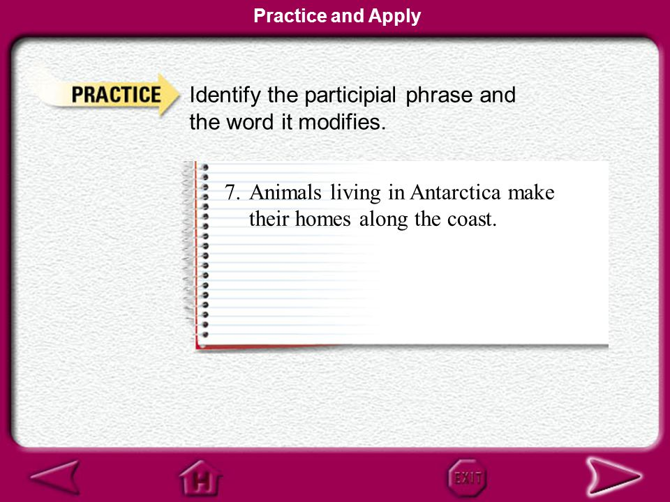 Identify the participial phrase and the word it modifies.