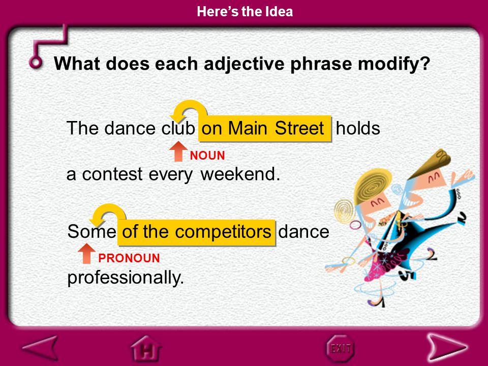 What does each adjective phrase modify