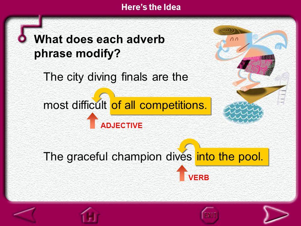 What does each adverb phrase modify