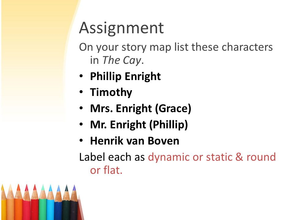 Assignment On your story map list these characters in The Cay.