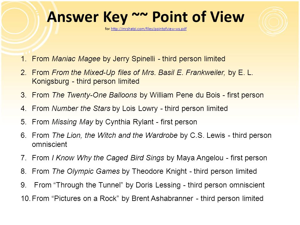 Answer Key ~~ Point of View for http://mrshatzi