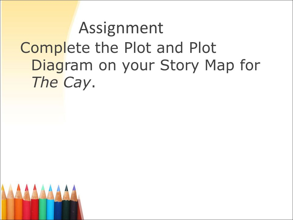 Assignment Complete the Plot and Plot Diagram on your Story Map for The Cay.