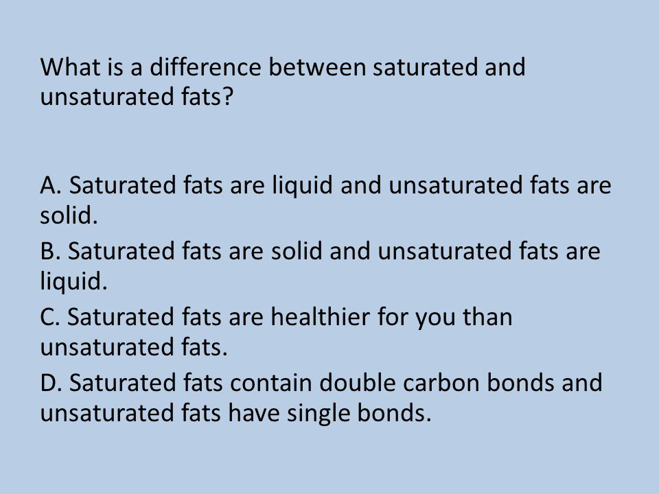 What is a difference between saturated and unsaturated fats. A