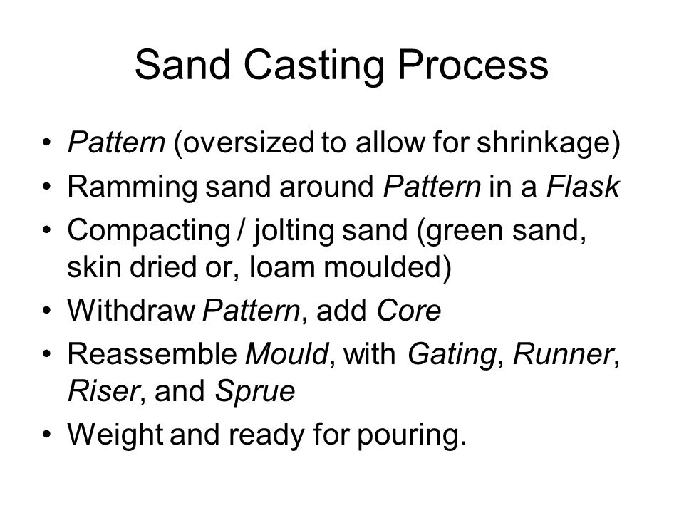 Sand Casting Process Pattern (oversized to allow for shrinkage)