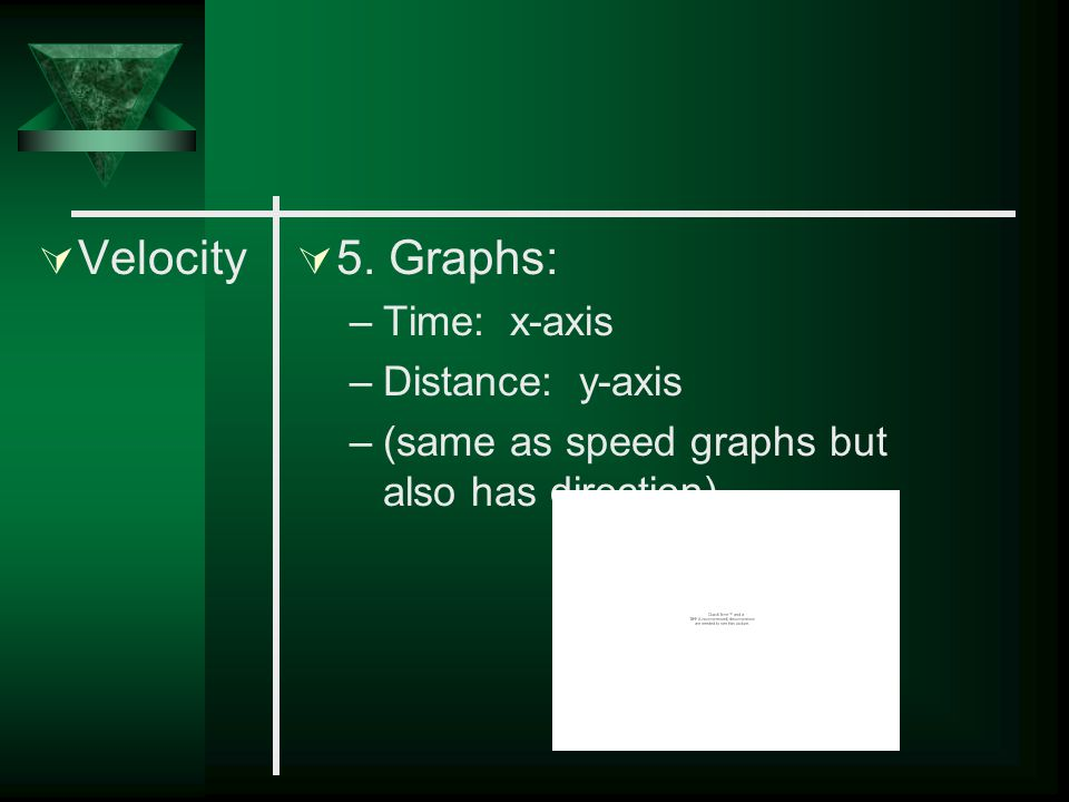 Velocity 5. Graphs: Time: x-axis Distance: y-axis