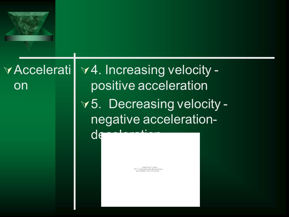 Acceleration 4. Increasing velocity - positive acceleration.