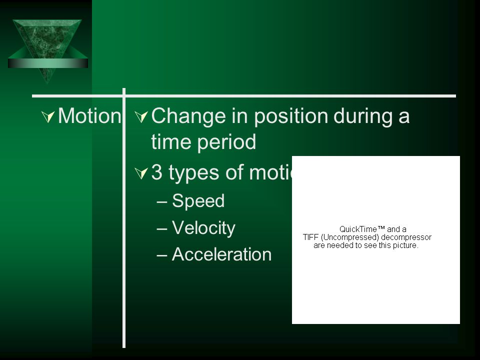 Change in position during a time period 3 types of motion