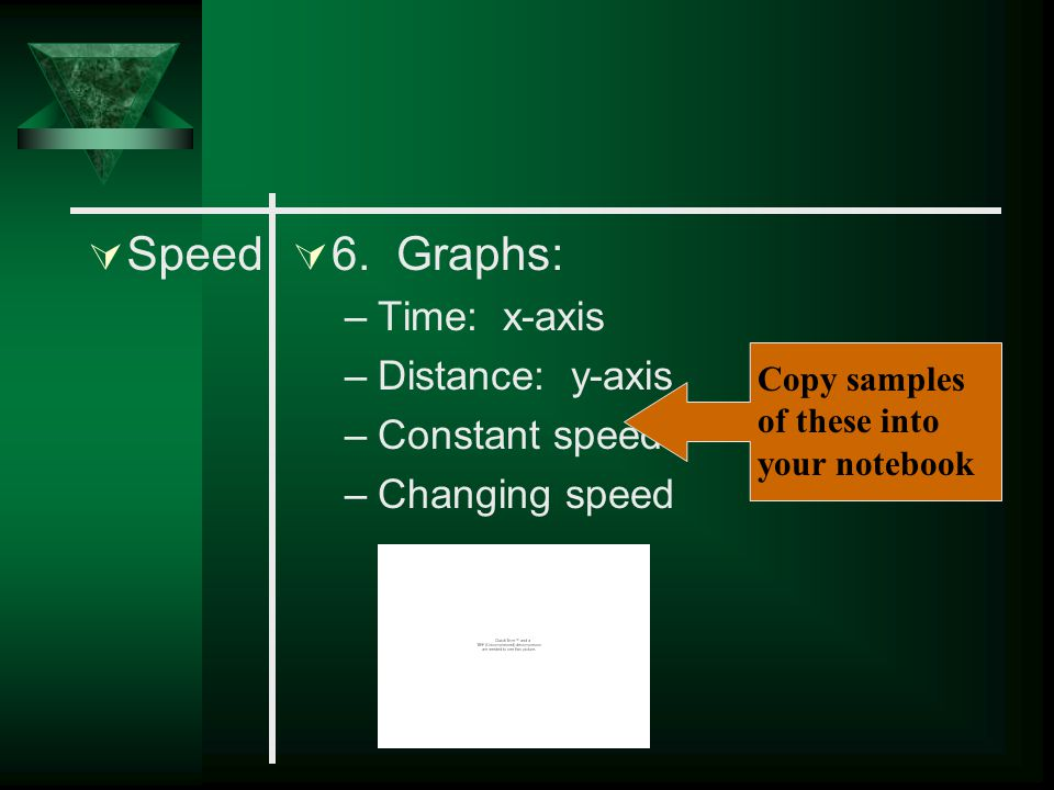 Speed 6. Graphs: Time: x-axis Distance: y-axis Constant speed