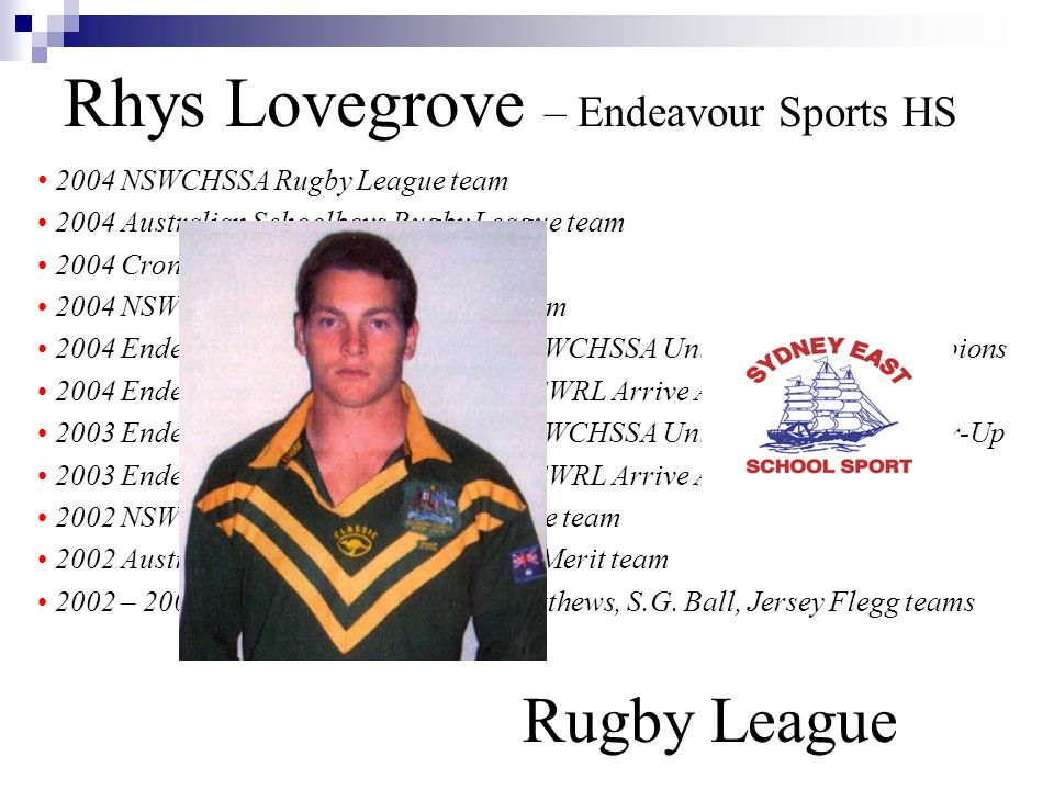 Rhys Lovegrove – Endeavour Sports HS Rugby League