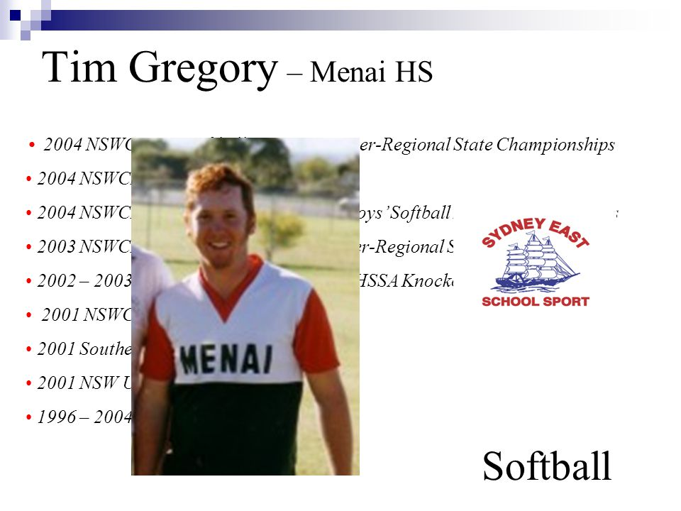Tim Gregory – Menai HS Softball