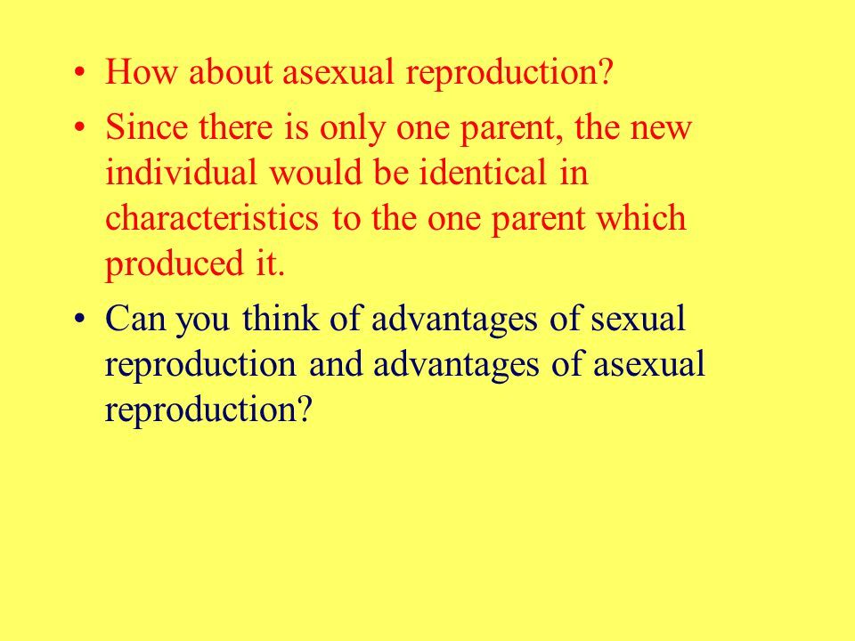 How about asexual reproduction