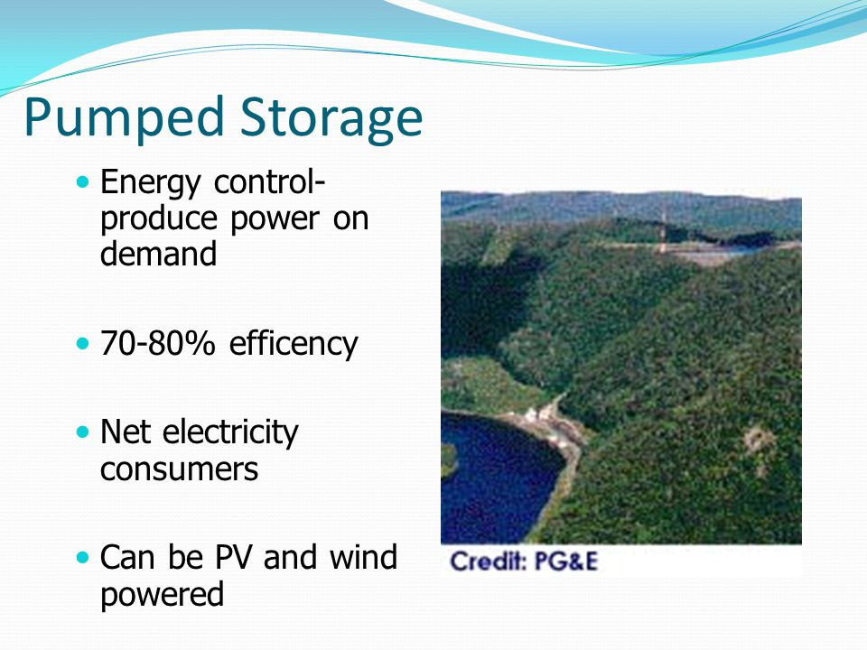 Pumped Storage Energy control- produce power on demand