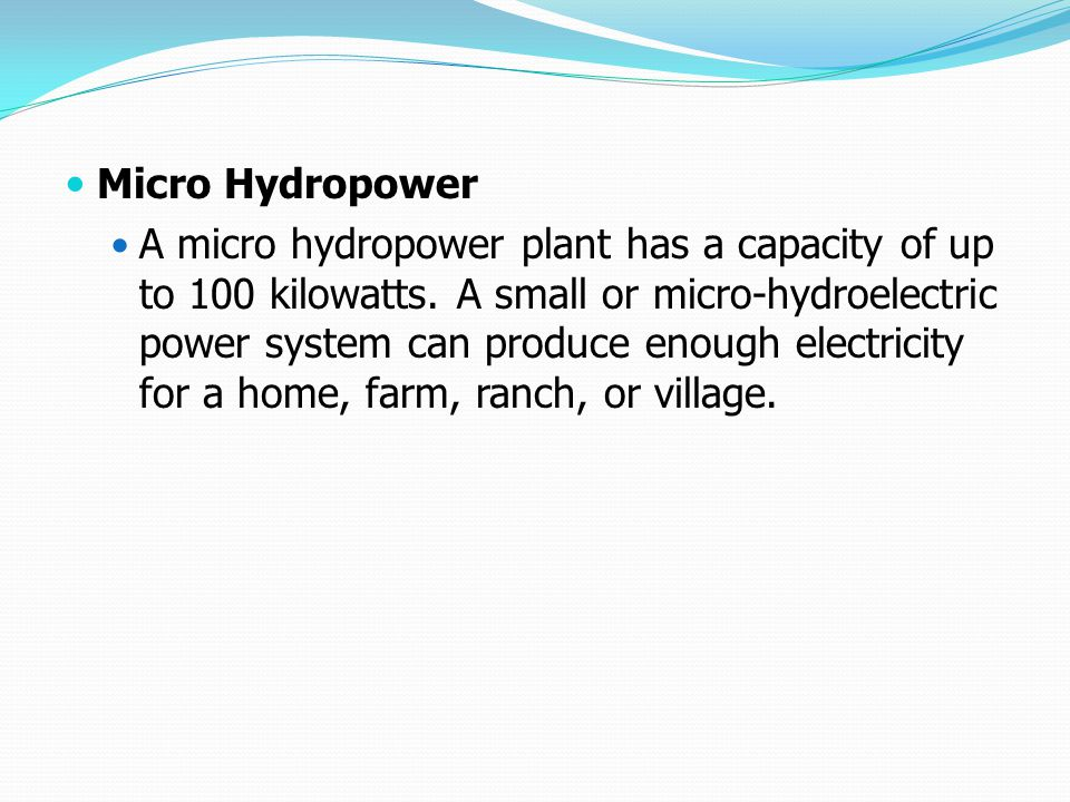 Micro Hydropower