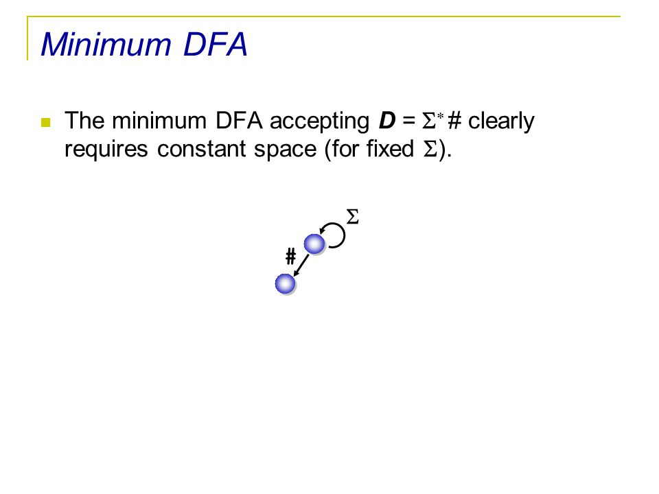 Minimum DFA The minimum DFA accepting D = S* # clearly requires constant space (for fixed S). S #