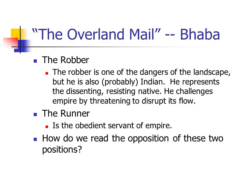 The Overland Mail -- Bhaba