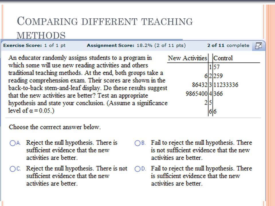 Comparing different teaching methods