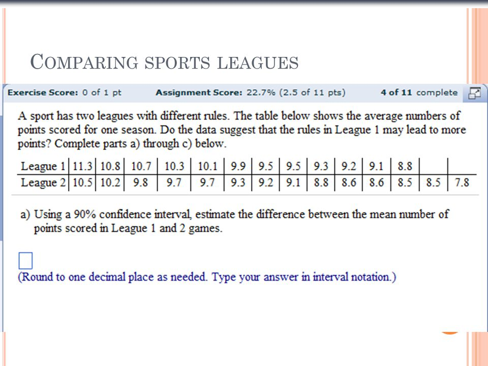 Comparing sports leagues