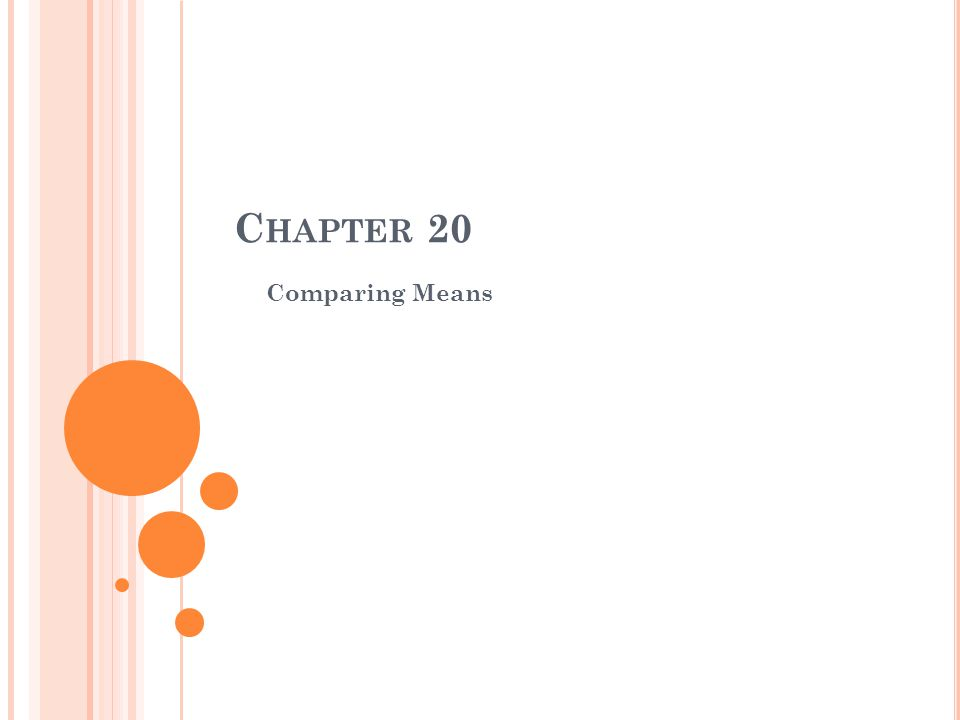 Chapter 20 Comparing Means