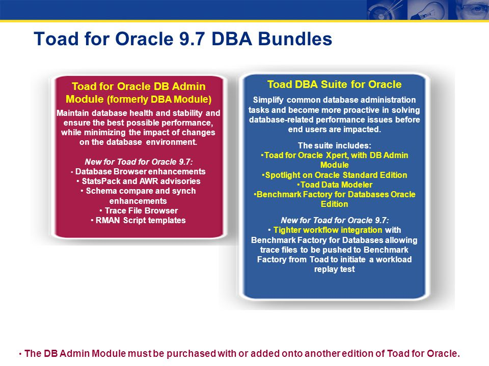 Toad for Oracle 9.7 DBA Bundles