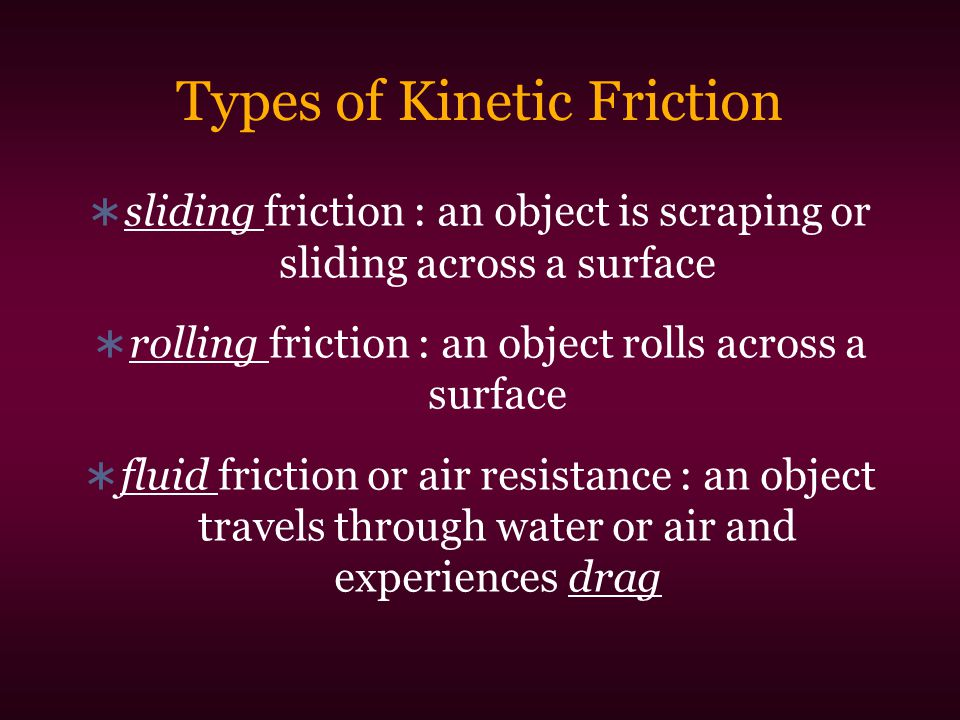 Types of Kinetic Friction