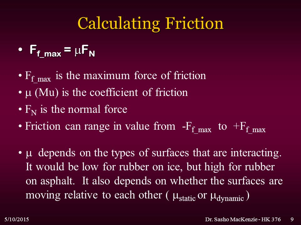 Calculating Friction Ff_max = FN