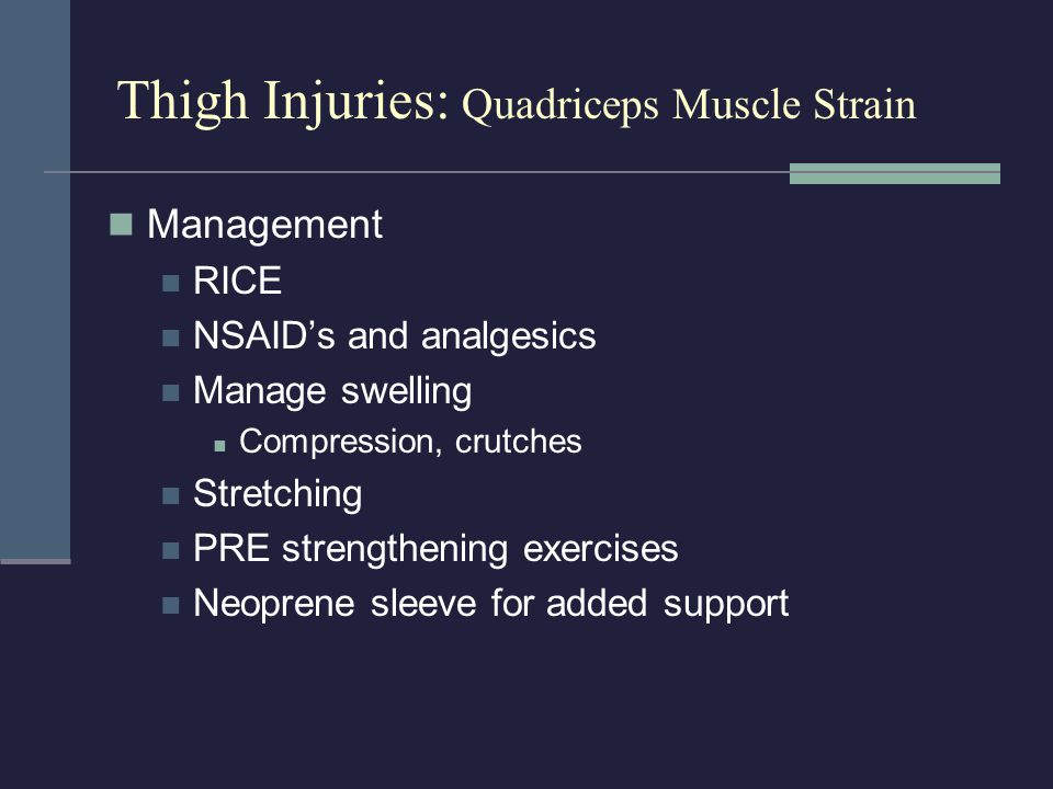 Thigh Injuries: Quadriceps Muscle Strain