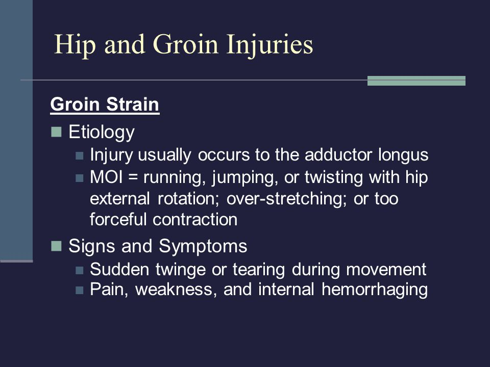 Hip and Groin Injuries Groin Strain Etiology Signs and Symptoms