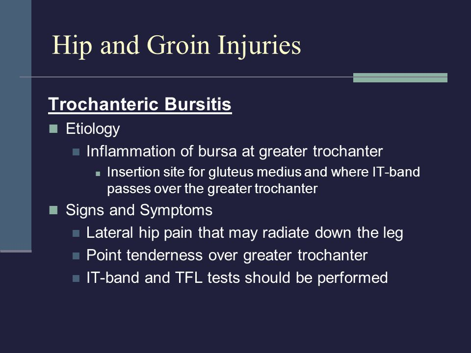 Hip and Groin Injuries Trochanteric Bursitis Etiology