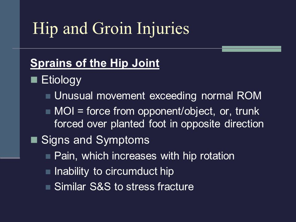 Hip and Groin Injuries Sprains of the Hip Joint Etiology
