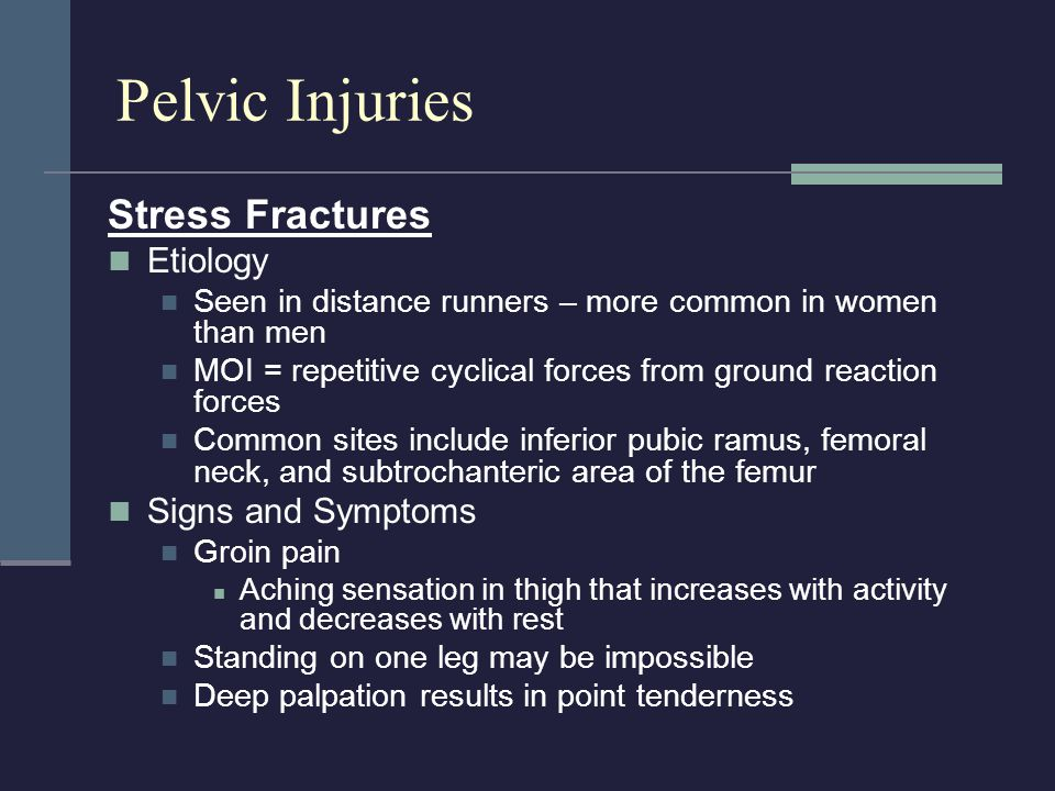 Pelvic Injuries Stress Fractures Etiology Signs and Symptoms