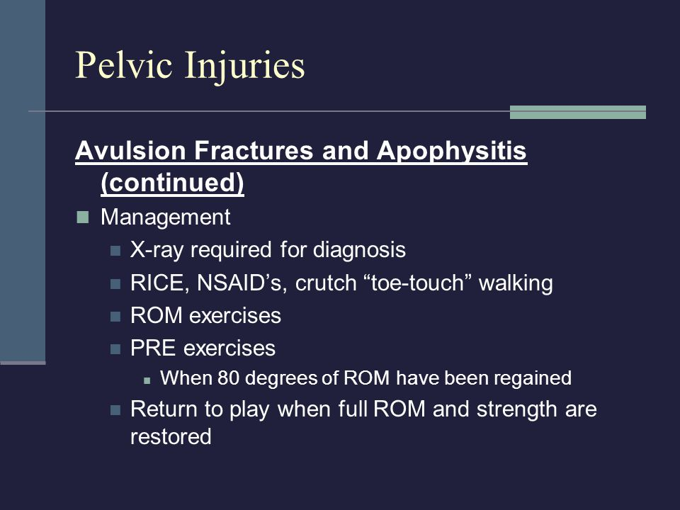 Pelvic Injuries Avulsion Fractures and Apophysitis (continued)