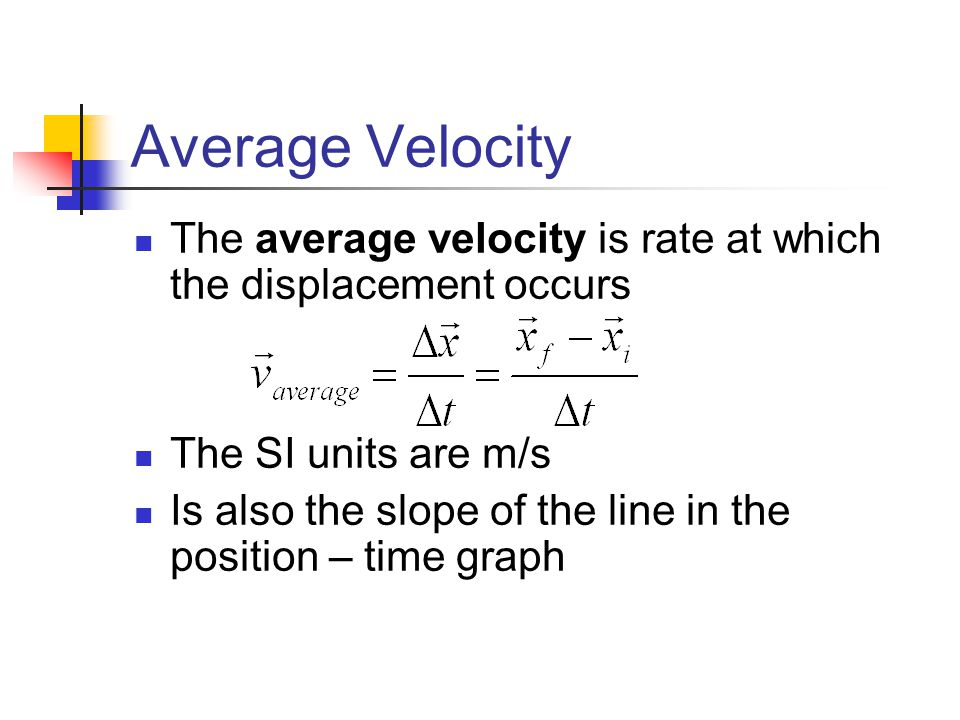 Average Velocity The average velocity is rate at which the displacement occurs. The SI units are m/s.