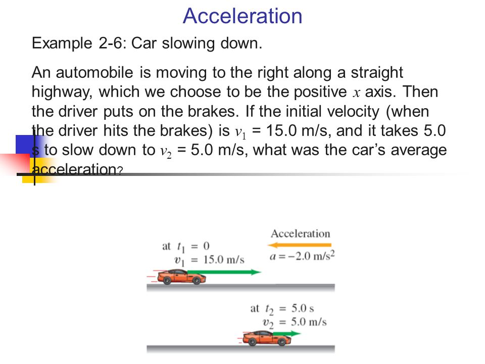 Acceleration Example 2-6: Car slowing down.