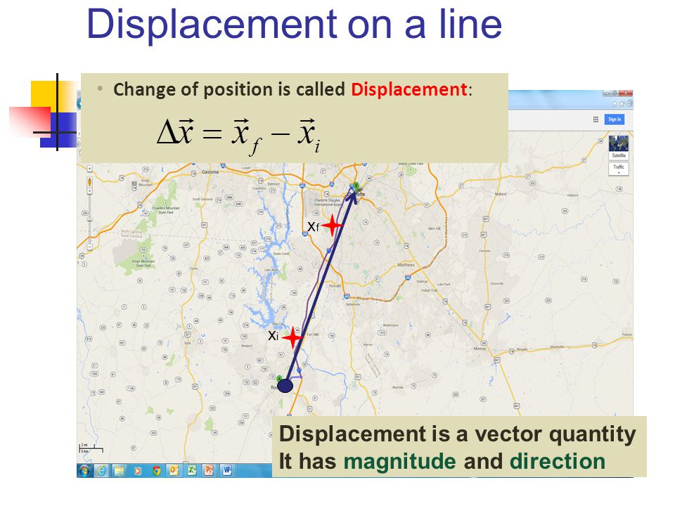 Displacement on a line Displacement is a vector quantity
