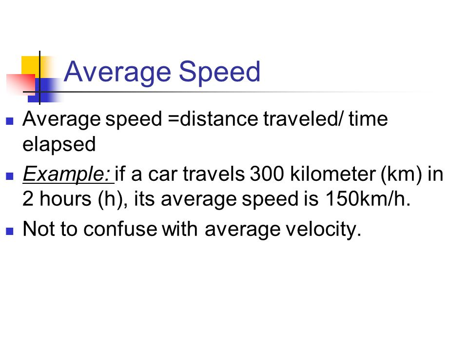 Average Speed Average speed =distance traveled/ time elapsed