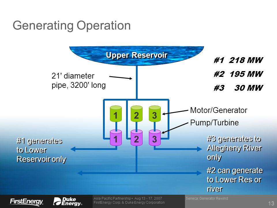Generating Operation 1 2 3 1 2 3 Upper Reservoir #1 218 MW #2 195 MW