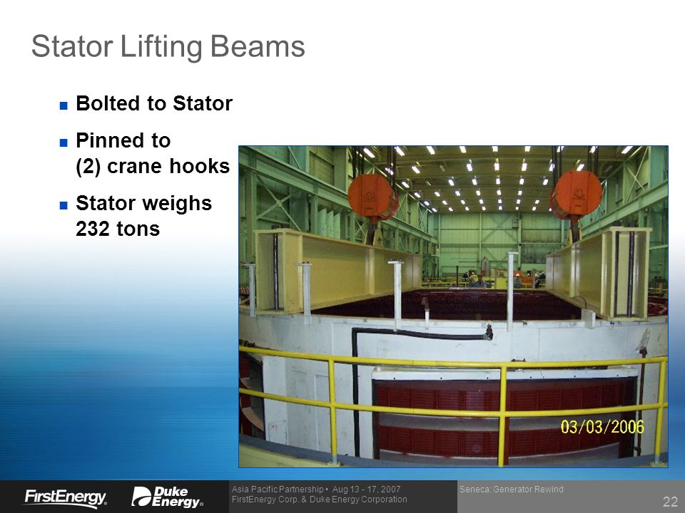 Stator Lifting Beams Bolted to Stator Pinned to (2) crane hooks