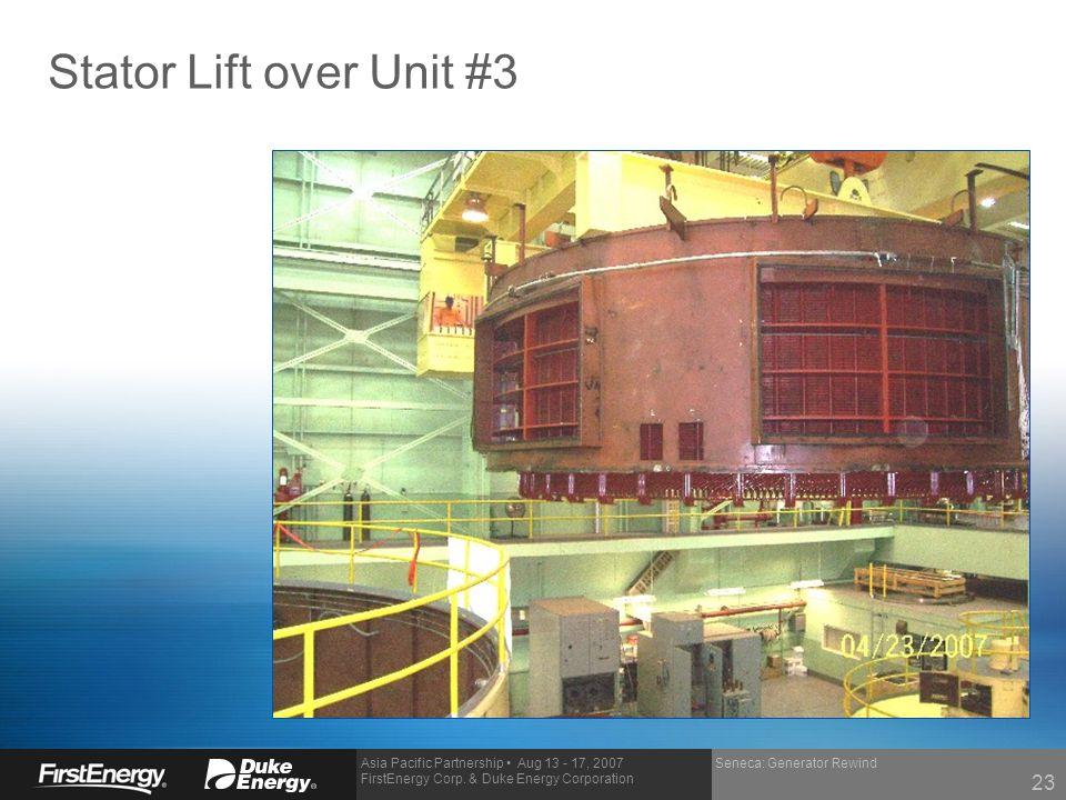 Stator Lift over Unit #3 Seneca: Generator Rewind 23