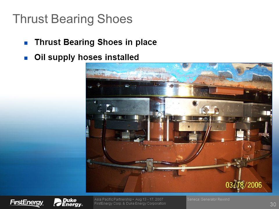 Thrust Bearing Shoes Thrust Bearing Shoes in place
