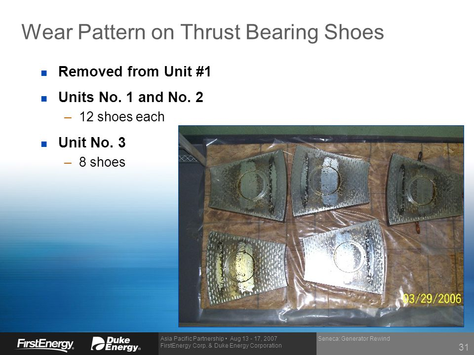Wear Pattern on Thrust Bearing Shoes